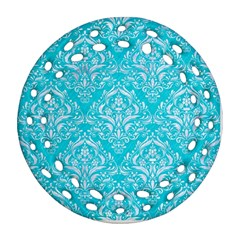 Damask1 White Marble & Turquoise Colored Pencil Ornament (round Filigree) by trendistuff