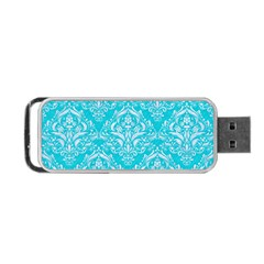 Damask1 White Marble & Turquoise Colored Pencil Portable Usb Flash (two Sides) by trendistuff