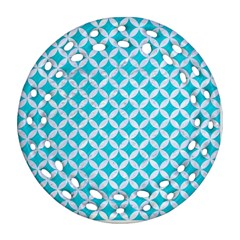 Circles3 White Marble & Turquoise Colored Pencil Ornament (round Filigree) by trendistuff