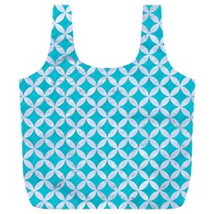 Circles3 White Marble & Turquoise Colored Pencil Full Print Recycle Bags (l)  by trendistuff