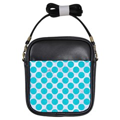 Circles2 White Marble & Turquoise Colored Pencil (r)encil (r) Girls Sling Bags by trendistuff
