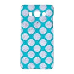 Circles2 White Marble & Turquoise Colored Pencil Samsung Galaxy A5 Hardshell Case  by trendistuff