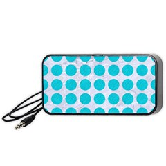 Circles1 White Marble & Turquoise Colored Pencil (r) Portable Speaker by trendistuff