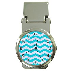 Chevron3 White Marble & Turquoise Colored Pencil Money Clip Watches by trendistuff