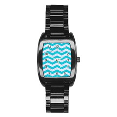 Chevron3 White Marble & Turquoise Colored Pencil Stainless Steel Barrel Watch by trendistuff
