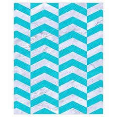 Chevron2 White Marble & Turquoise Colored Pencil Drawstring Bag (small)