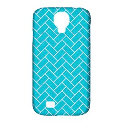Brick2 White Marble & Turquoise Colored Pencil Samsung Galaxy S4 Classic Hardshell Case (pc+silicone) by trendistuff