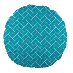 Brick2 White Marble & Turquoise Colored Pencil Large 18  Premium Flano Round Cushions by trendistuff