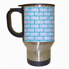 Brick1 White Marble & Turquoise Colored Pencil (r) Travel Mugs (white) by trendistuff