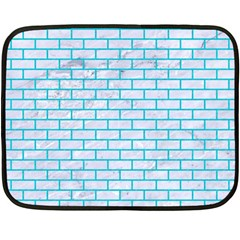 Brick1 White Marble & Turquoise Colored Pencil (r) Fleece Blanket (mini) by trendistuff