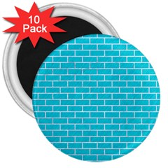 Brick1 White Marble & Turquoise Colored Pencil 3  Magnets (10 Pack)  by trendistuff