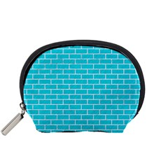 Brick1 White Marble & Turquoise Colored Pencil Accessory Pouches (small)  by trendistuff