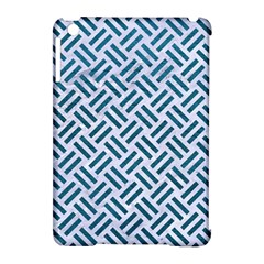 Woven2 White Marble & Teal Leather (r) Apple Ipad Mini Hardshell Case (compatible With Smart Cover) by trendistuff