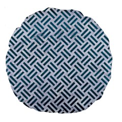 Woven2 White Marble & Teal Leather (r) Large 18  Premium Flano Round Cushions by trendistuff