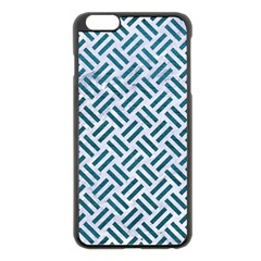 Woven2 White Marble & Teal Leather (r) Apple Iphone 6 Plus/6s Plus Black Enamel Case by trendistuff