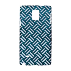 Woven2 White Marble & Teal Leather Samsung Galaxy Note 4 Hardshell Case by trendistuff
