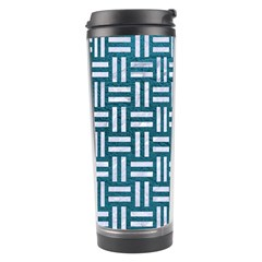 Woven1 White Marble & Teal Leather Travel Tumbler by trendistuff