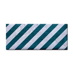 Stripes3 White Marble & Teal Leather (r) Cosmetic Storage Cases by trendistuff