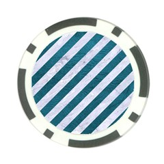 Stripes3 White Marble & Teal Leather (r) Poker Chip Card Guard (10 Pack) by trendistuff