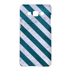 Stripes3 White Marble & Teal Leather Samsung Galaxy A5 Hardshell Case  by trendistuff