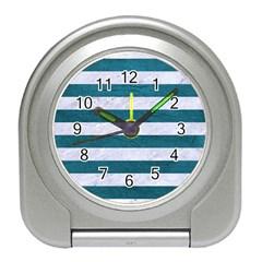 Stripes2white Marble & Teal Leather Travel Alarm Clocks by trendistuff