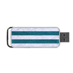 Stripes2white Marble & Teal Leather Portable Usb Flash (one Side) by trendistuff