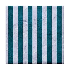 Stripes1 White Marble & Teal Leather Face Towel by trendistuff