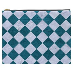 Square2 White Marble & Teal Leather Cosmetic Bag (xxxl)  by trendistuff