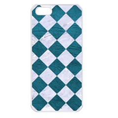 Square2 White Marble & Teal Leather Apple Iphone 5 Seamless Case (white) by trendistuff