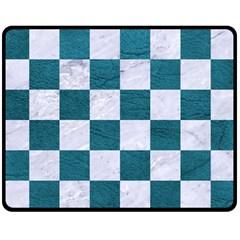 Square1 White Marble & Teal Leather Fleece Blanket (medium)  by trendistuff
