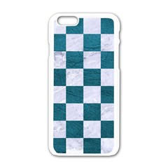 Square1 White Marble & Teal Leather Apple Iphone 6/6s White Enamel Case by trendistuff
