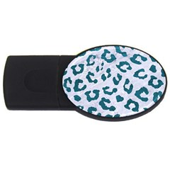 Skin5 White Marble & Teal Leather Usb Flash Drive Oval (4 Gb) by trendistuff