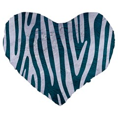 Skin4 White Marble & Teal Leather (r) Large 19  Premium Flano Heart Shape Cushions by trendistuff