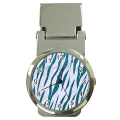 Skin3 White Marble & Teal Leather (r) Money Clip Watches by trendistuff