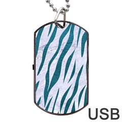 Skin3 White Marble & Teal Leather (r) Dog Tag Usb Flash (two Sides) by trendistuff