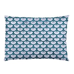 Scales3 White Marble & Teal Leather (r) Pillow Case (two Sides) by trendistuff