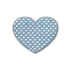 Scales2 White Marble & Teal Leather (r) Heart Coaster (4 Pack)  by trendistuff