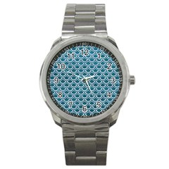 Scales2 White Marble & Teal Leather Sport Metal Watch by trendistuff