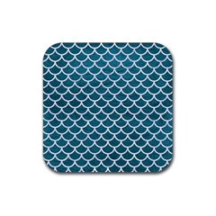 Scales1 White Marble & Teal Leather Rubber Coaster (square)  by trendistuff