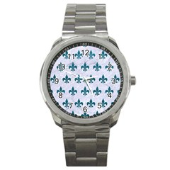 Royal1 White Marble & Teal Leather Sport Metal Watch by trendistuff