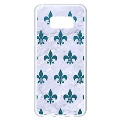 Royal1 White Marble & Teal Leather Samsung Galaxy S8 Plus White Seamless Case by trendistuff