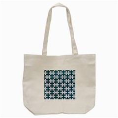 Puzzle1 White Marble & Teal Leather Tote Bag (cream) by trendistuff