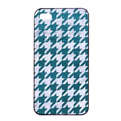 Houndstooth1 White Marble & Teal Leather Apple Iphone 4/4s Seamless Case (black) by trendistuff