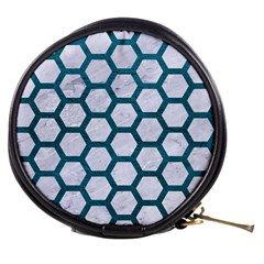 Hexagon2 White Marble & Teal Leather (r) Mini Makeup Bags