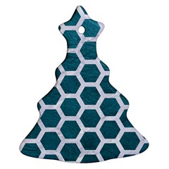 Hexagon2 White Marble & Teal Leather Ornament (christmas Tree)  by trendistuff