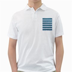 Diamond1 White Marble & Teal Leather Golf Shirts by trendistuff