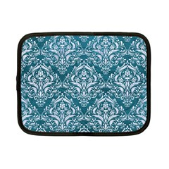 Damask1 White Marble & Teal Leather Netbook Case (small)  by trendistuff
