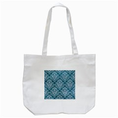 Damask1 White Marble & Teal Leather Tote Bag (white) by trendistuff