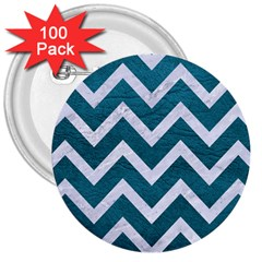 Chevron9 White Marble & Teal Leather 3  Buttons (100 Pack)  by trendistuff