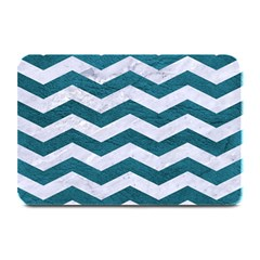 Chevron3 White Marble & Teal Leather Plate Mats by trendistuff